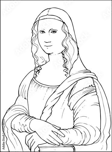 Mona lisa by famous leonardo da vinci coloring vector for Immagini di clown da colorare