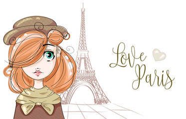 Cute girl near by the Eiffel Tower in Paris, romantic style fashion teenager portrait, autumn look young woman vector illustration
