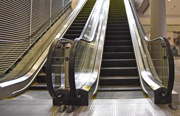 Indoor escalator with view looking up