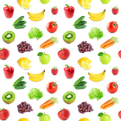 Collection of fruits and vegetables. Seamless pattern