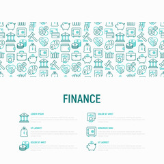 Finance concept with thin line icons: safe, credit card, piggy bank, wallet, currency exchange, hammer, agreement, handshake, atm slot. Modern vector illustration for banner, web page, print media.