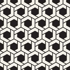Vector seamless stripes pattern. Modern stylish texture with monochrome trellis. Repeating geometric hexagonal grid. Simple lattice design.