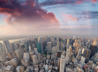 Wall Mural - New York City, USA. Amazing aerial Manhattan view at sunset