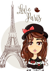 Cute cartoon girl near by the Eiffel Tower in Paris, romantic style fashion teenager portrait, brunette young woman vector illustration