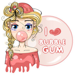 Super cute fashion cartoon girl with bubble gum. I love bubble gum pink hand drawing vector illustration