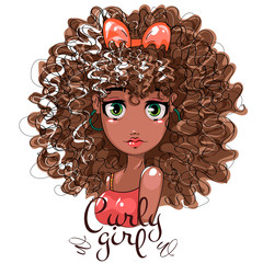 Cute Afro girl with curly hair, beauty fashion girl portrait, cartoon character, hand drawn vector illustration