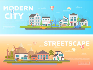 Streetscape - set of modern flat vector illustrations