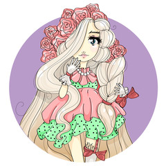 Sweet young girl, cute baby doll face, blonde princess with flower in her hair, cartoon character portrait, beauty fashion girl, vector illustration