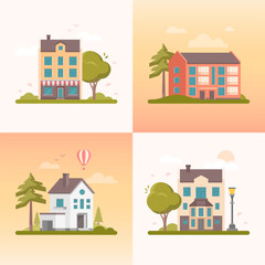 Nice buildings - set of modern flat design style vector illustrations