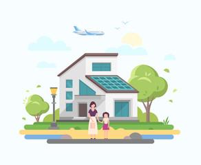 Lovely house - modern flat design style vector illustration