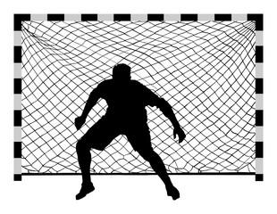 Handball (soccer) goalkeeper silhouette vector. Goalkeeper silhouette, black icon and net isolated on white background.