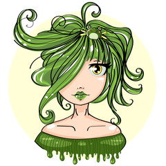 Cute green frog princess, fairy cartoon girl character portrait, vector illustration