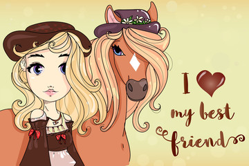 Cute girl with horse, I love my best friend text phrase, cartoon character hand drawn kids style, beautiful fashion girl vector illustration