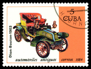 Postage stamp. Antique car Dion-Bouton 1903.