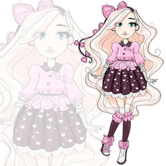 Cute fashion girl cartoon character in pink, hand drawn vector illustration