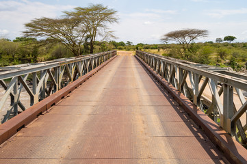 Iron Bridge on the Mara River between Maasai Mara Park in North West Kenya and Serenghetti Park in Tanzania