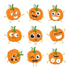 Funny pumpkin - vector isolated cartoon emoticons