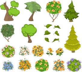 Set of Garden Plants with Flowers for you Design and Computer Game