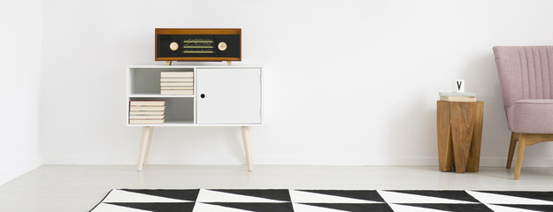 Radio in bright living room