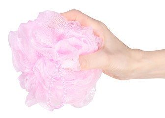 Pink loofah in hand