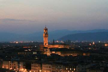 Summer. Night. Italy. Florence. Panoramic view of the city.
