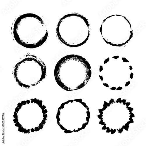 Circle frame pattern brushes. Grunge tribal black lines. Hand ...