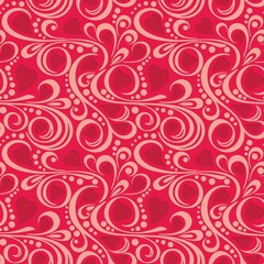 Abstract pattern with red hearts and swirls