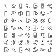 Set of 16 phone thin line icons