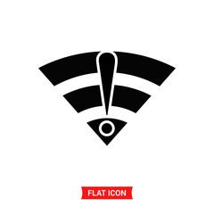 Wireless error vector icon, wifi stop symbol