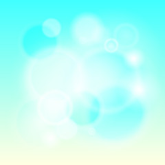 Abstract modern lights background defocused and gradient texture. Blue sky color blurred backdrop. Vivid design element. Flare and bokeh effects. Vector illustration. EPS 10