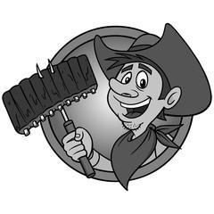Cowboy BBQ Illustration - A vector cartoon illustration of a Cowboy mascot icon.