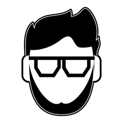 Man with glasses faceless cartoon icon vector illustration graphic design
