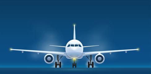 Front view of landing aircraft. Passenger air vehicle transport Wall mural