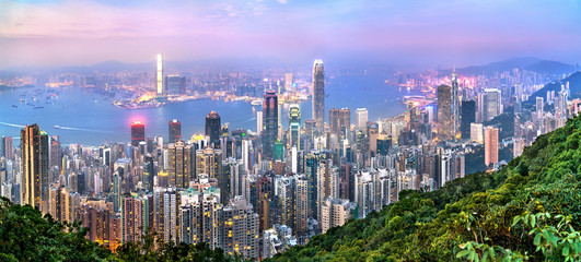 Aluminium Prints Asian Famous Place Skyline of Hong Kong from Victoria Peak