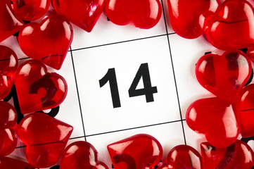 February 14 with a red heart symbol holiday