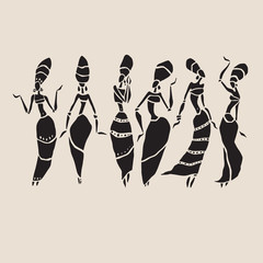 Silhouette of woman. African dancers. Dancing woman in traditional ethnic style. Vector Illustration.