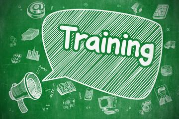 Training - Cartoon Illustration on Green Chalkboard.
