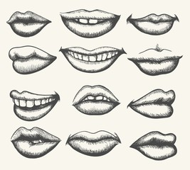 Lips engraving. Retro human face lips, vintage smiling and kissing mouth set vector illustration