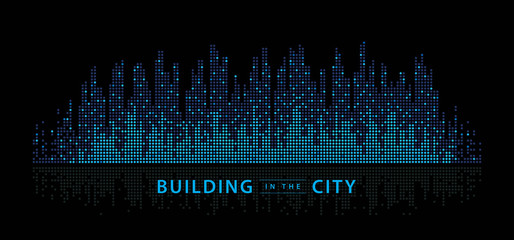 Fototapete - Abstract City vector, Equalizer background. transparent city landscape, Dots Building in the night City,
