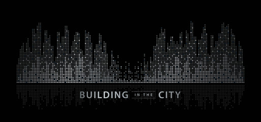 Fotomurales - Abstract City vector, Equalizer background. transparent city landscape, Dots Building in the night City