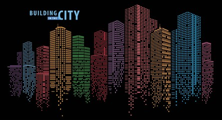 Fototapete - Abstract City vector, transparent city landscape, Dots Building in the night City