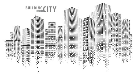 Abstract City vector, transparent city landscape, Dots Building in the night City Wall mural