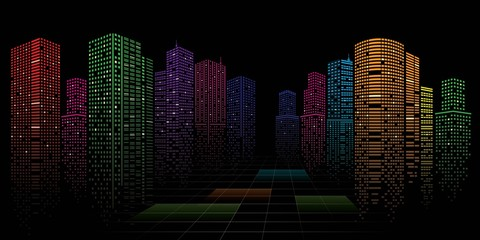 Fotomurales - Abstract City vector, transparent city landscape, Dots Building in the night City