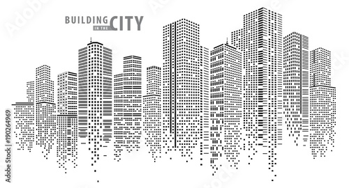 Wall mural Abstract City vector, transparent city landscape, Dots Building in the night City