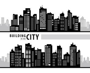 Wall Mural - White Building in the City, skyscraper Perspective. Architecture vector.