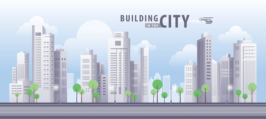 White Building in the City, skyscraper Perspective. Architecture vector.