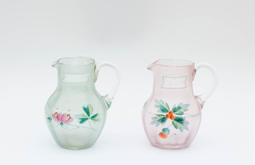 Two old glass jug