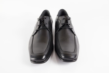 Male black leather elegant shoe on white background, isolated product, comfortable footwear.