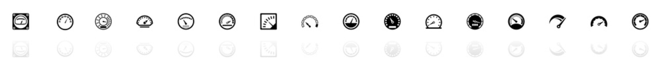 Speedometer icons - Black horizontal Illustration symbol on White Background with a mirror Shadow reflection. Flat Vector Icon.