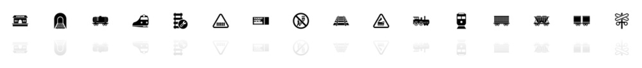 Trains icons - Black horizontal Illustration symbol on White Background with a mirror Shadow reflection. Flat Vector Icon.